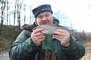Martin with a grayling